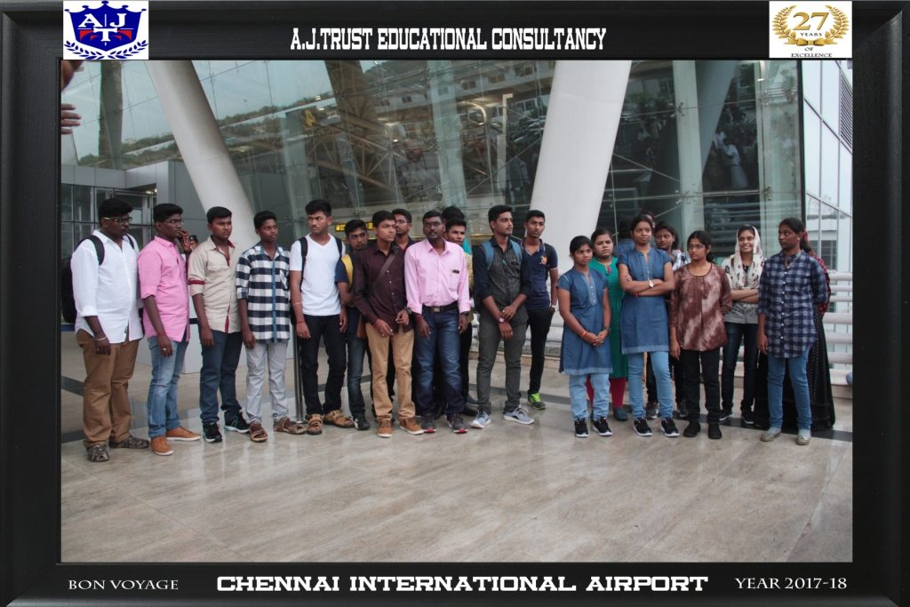 STUDENTS PRIOR DEPARTURE FROM CHENNAI INT'L AIRPORT