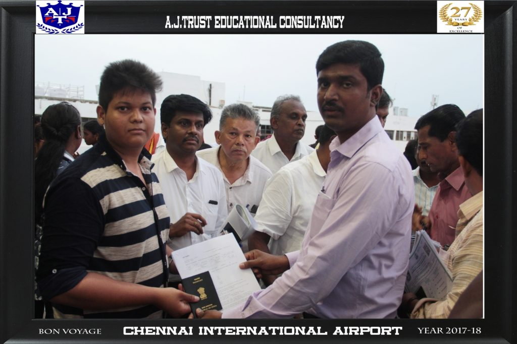 DR.FAHADH HANDING OVER TRAVEL DOCUMENTS TO MD NAZEEM RAJA AT CHENNAI INT'L AIRPORT