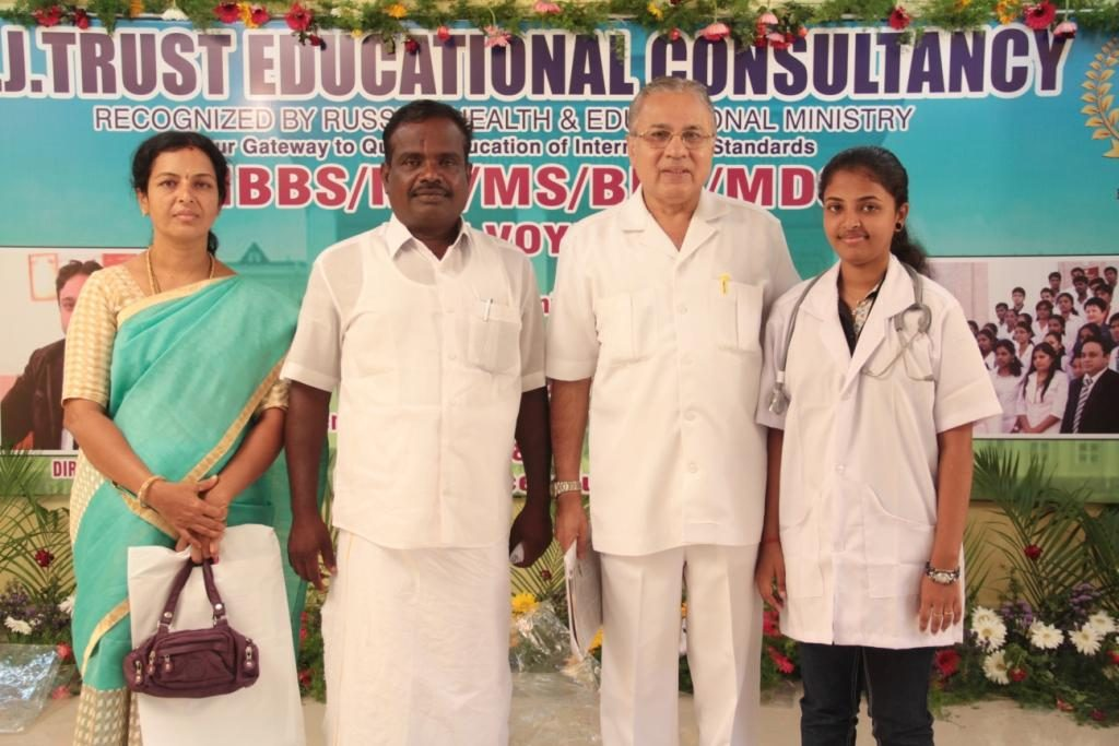DR. AMEERJAHAN-CHAIRMAN A J TRUST  ALONG WITH PARENTS & STUDENT- RAJ PRIYADARSHINI AT BON VOYAGE