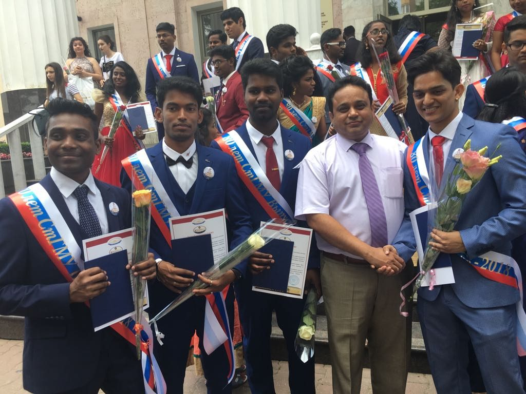 Convocation ceremony 2018, DR.NAJEER,DIRECTOR A J TRUST ALONG WITH HIS STUDENTS CONGRATULATING THEM