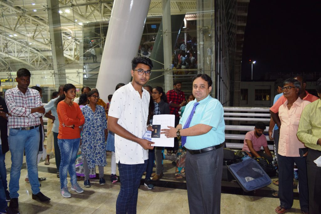 1st batch student- Eswin Bose to Stavropol state medical university departing from Chennai Int'l Air