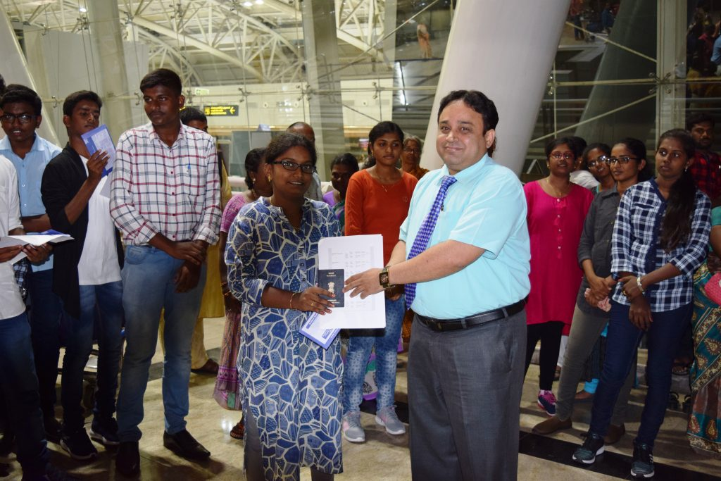 1st batch student-N.Saundariya to Stavropol state medical university departing from Chennai Int'l Ai