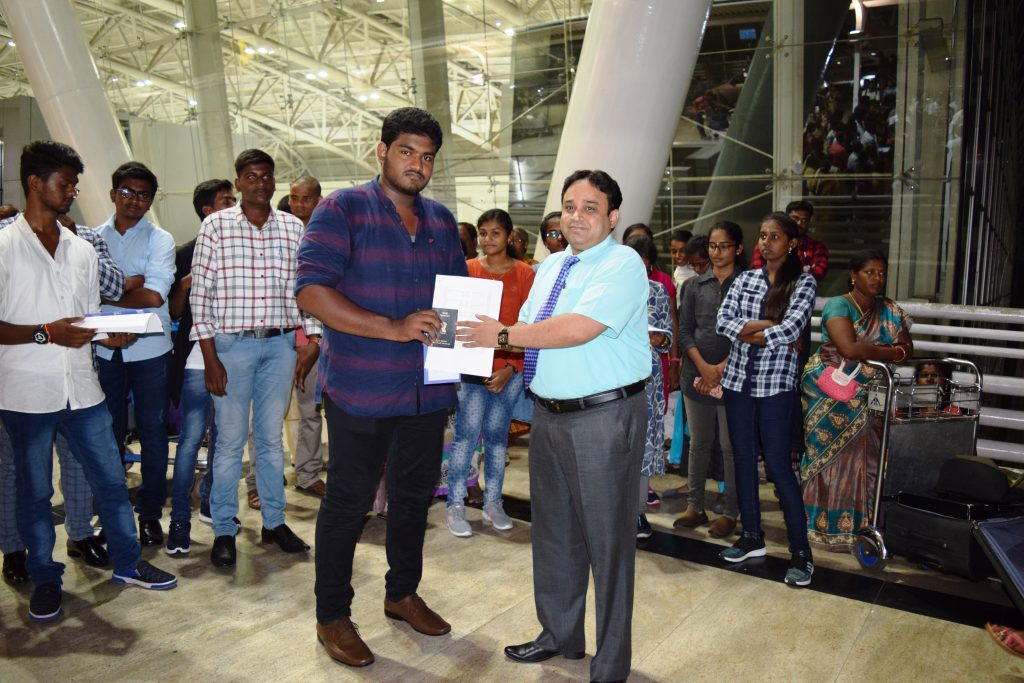 1st batch student-R S Vinoth to Stavropol state medical university departing from Chennai Int'l Airp