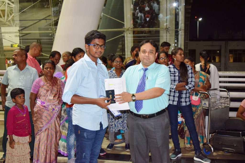 1st batch student-M.Ragul to Stavropol state medical university departing from Chennai Int'l Airport