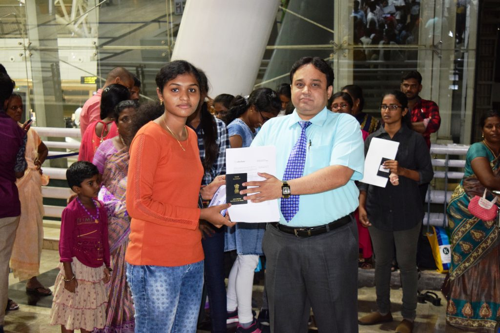 1st batch student-R.S Reshma to Stavropol state medical university departing from Chennai Int'l Airp
