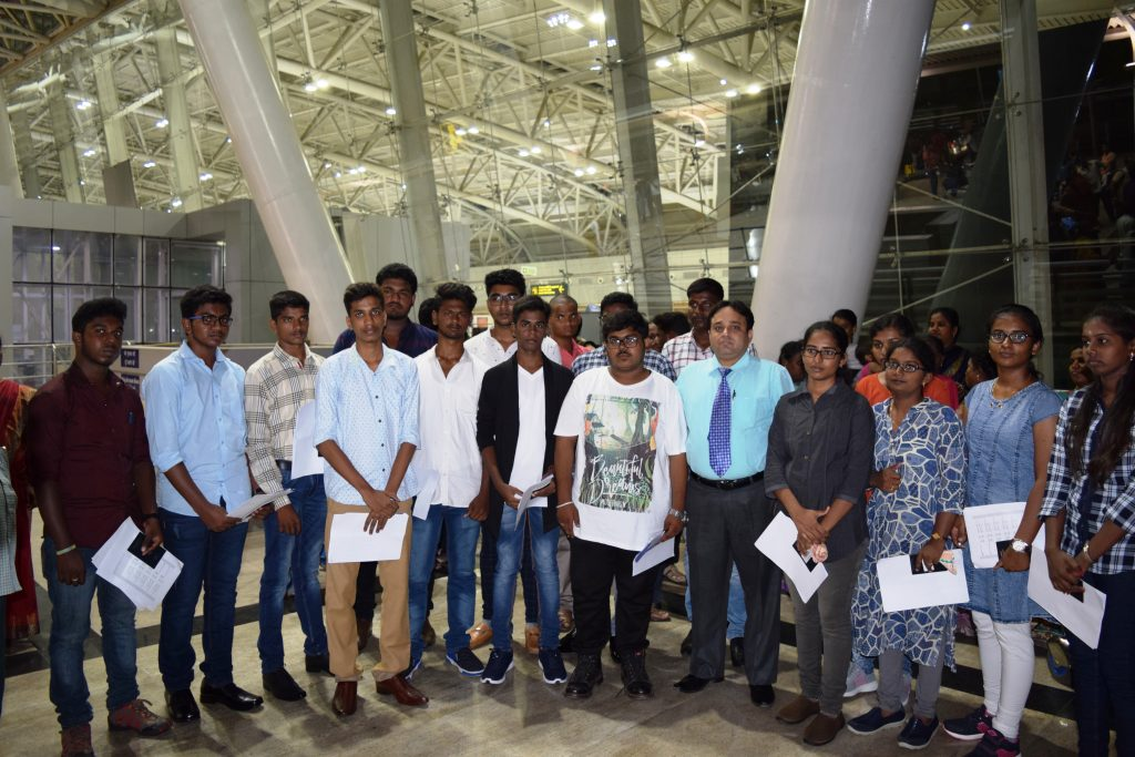 Students after receiving Travel Documents before departing from Chennai Int'l Airport in the presenc
