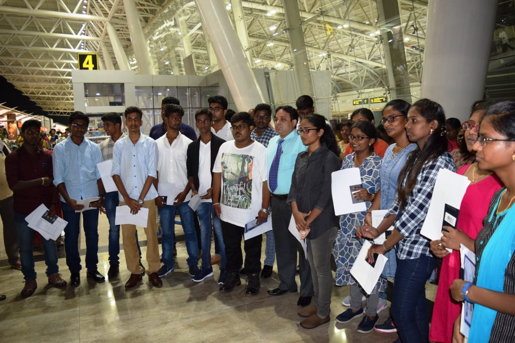 1st batch students to Stavropol state medical university departing from Chennai Int'l Airport in the
